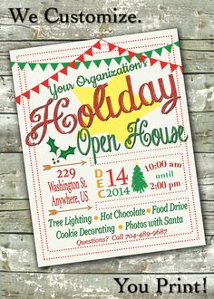 Holiday Open House Flyer ~ Christmas Baazar ~ Community Event ~ Customized Digital Poster by MagicPalette on Etsy https://www.etsy.com/listing/211460241/holiday-open-house-flyer-christmas