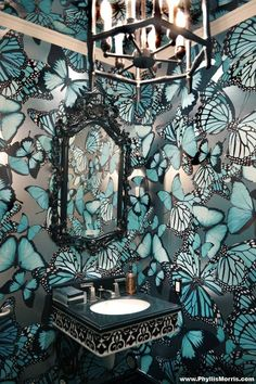 """phyllis morris """"chanteuse"""" butterfly wallpaper (shown in turquoise) is intense in a small space Butterfly Wallpaper, Wall Wallpaper, Butterfly Bathroom, Home And Deco, Wall Treatments, Beautiful Bathrooms, My Dream Home, Chinoiserie, Decoration"""