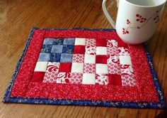 Patriotic Mug Rug Quilted Mug Rug Red White and Blue by Need2Quilt