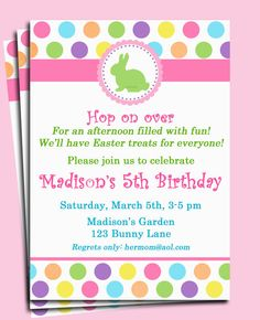 Easter Bunny Invitation Printable - Easter Egg Hunt, Easter Birthday, Brunch, CELEBRATION on Etsy, $15.00