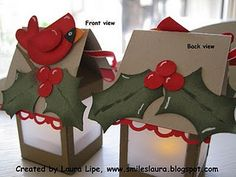 Bird paper lanterns. Christmas decorations made from #StampinUp milk carton die and fake candle inside