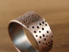 Dots Ring. Adjustable Wide Ring in Copper. Ring