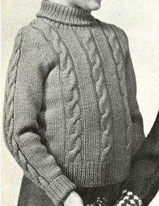 Boy's Cable Pullover knit pattern from Speedknits for Children, originally published by Patons & Baldwins, Book 71.
