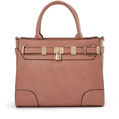 ShoeDazzle Bags Darin Satchel Womens Pink ❤ liked on Polyvore featuring bags, handbags, pink, wallets & cases, man bag, pink satchel handbags, handbag purse, beige purse and satchel purses