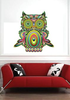 Colorful Owl Color Animals  Vinyl Wall Decal Full by uBerDecals