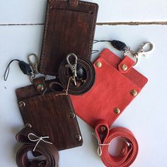 3 beautiful pieces for my first costumers Lol.... 😘 #handmade sweet #brown and #red #leather #idcard #holder or #idbadge #instaart #instashop #leatherman #leathercraft #kupang #indonesia