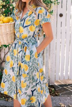 Gal Meets Glam Lemon Print  - Tuckernuck dress, Rebecca de Ravenel earrings & Birkin basket bag