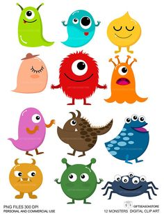 12 Monsters Digital clip art  for Personal and by Giftseasonstore, $2.00