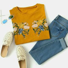 Gesticktes Drop Shoulder Slit Side High Low T-Shirt - diy deko Mode Outfits, Casual Outfits, Fashion Outfits, Mode Style, Style Me, Spring Summer Fashion, Spring Outfits, Mode Lookbook, Fashion Clothes