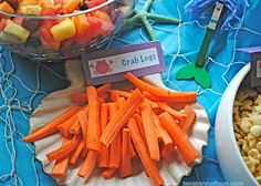 awesome food ideas for an under the sea themed party!! definitely will use for D's party =)