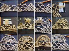 Very interesting crochet technique! Poncho Crochet, Crochet Motifs, Crochet Diagram, Crochet Baby, Free Crochet, Knitting Stitches, Knitting Patterns, Crochet Patterns, Hairpin Lace Crochet