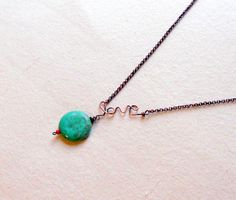 Wire LOVE necklace by SunshinesPush on Etsy,