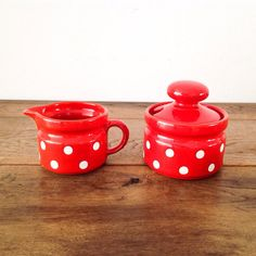 Vintage Waechtersbach Red With White Polka Dots Creamer And Sugar Bowl With Lid Glazed Earthenware Made In West Germany