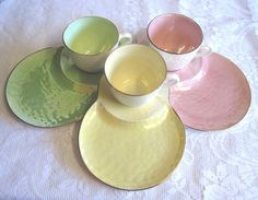 Found on Etsy..3 Vintage Maling Harlequin Tennis Sets/Snack by TheWhistlingMan