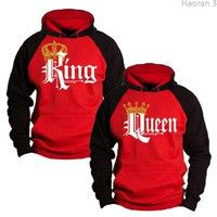 Vogue Men's Women's Hoodie Couple Hoodie King and Queen Couple Matching Hoodie Hell Lit Outfits, Couple Outfits, Printed Sweatshirts, Hooded Sweatshirts, Hoodies, King Shirt, Vogue Men, Wish Shopping, Happy Shopping