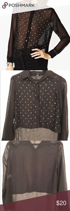Sheer Studded Blouse Edgy studded blouse with high low hem. Excellent condition, worn twice! NOT free people but nasty Gal. Free People Tops Blouses