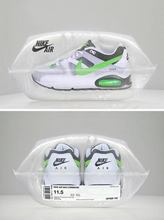 I love this Nike air packaging it is so cool. I love how they have got a pair of Nike Airs and put them into an air tight sealed bag. I think this is very clever by playing on the word air. This packaging really gets my attention, I love it. Nike Free 3.0, Nike Free Shoes, Nike Shoes Outlet, Clever Packaging, Brand Packaging, Packaging Design, Innovative Packaging, Gift Packaging, Plastic Packaging