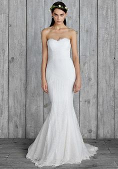 """Perry"" Style GI10001 by Nicole Miller. Strapless Chantilly Lace Gown. l TheKnot.com"
