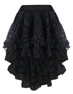 Martya Womens Steampunk Gothic Dress Costume Vintage Multi Layered Chiffon Skirt Plus Size