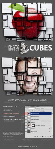 3D Cubes Photo Effect