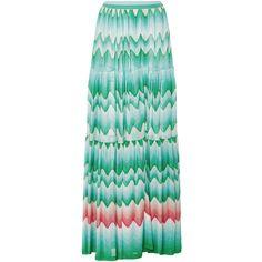Missoni Zig Zag Sfumato Maxi Skirt ($1,195) ❤ liked on Polyvore featuring skirts, green, side slit skirt, maxi skirt, side slit maxi skirt, floor length skirts and green skirt