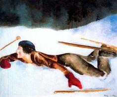 """Deportes de invierno IV, 1930"". Óleo sobre tela. 60 x 73 cm. Colección Carmen Thyssen-Bornemisza. Madrid. España."