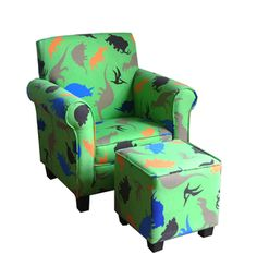 @Overstock - An inviting dinosaur print design decorates the kid's chair and matching ottoman. This kid's furniture set give your little one a comfy place to stretch out and features a quality fabric and wood construction.http://www.overstock.com/Home-Garden/Kinfine-USA-Kids-Green-Club-Chair-and-Ottoman-Set/7472162/product.html?CID=214117 $101.99