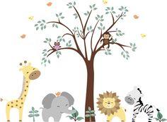 "Safari Animals Nature Removable Reusable Wall Decals Kids Nursery Art 84"" x 109"""