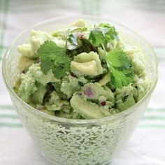 A simple avocado salad that goes well with meat, fish or even as a filling in a wrap