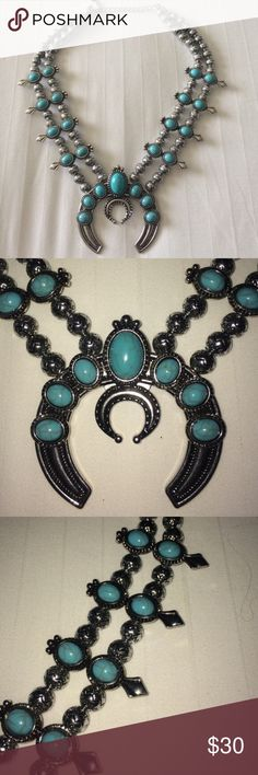 """Squash Blossom Boho Necklace Designer inspired necklace. Lightweight Boho Faux turquoise and faux silver necklace 18"""" long with a 3"""" extender. Same look as the expensive brand but at a much better price. New without tags costume Jewelry Necklaces"""