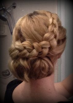 Hair was down and curly the day before after using a pincurl setting. This was a quick vintage inspired updo for long thin hair.