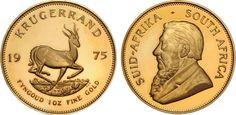 South African Krügerrand / Krugerrand 1975 1oz Fyngoud Fine Gold Paul Kruger