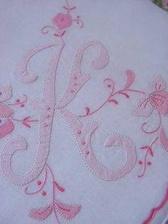 K Monogram Hankie Madeira Style PINK Handkerchief