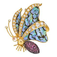 Betteridge: Lotus Arts de Vivre Multicolored Gemstone & Abalone Shell Butterfly Brooch