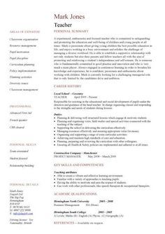 Teaching CV template, job description, teachers at school, CV example, resume