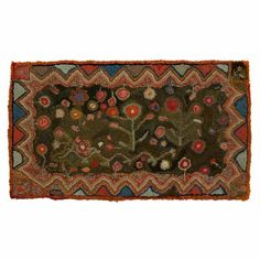 Hooked Rug with Flowers