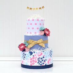 Navy Blush Felt Flower Diaper Cake, Floral Diaper Cake Decoration by Baby Blossom Company