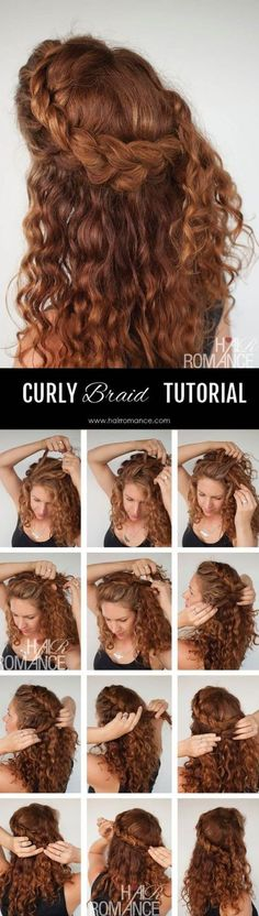 Half Up Braid Hairstyle for Curly Hair
