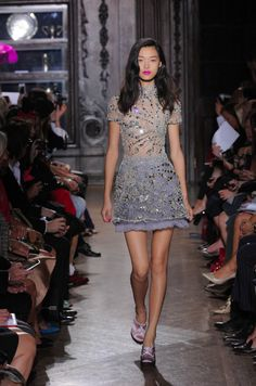 Sheer blue/grey mini with rays of Swarovski Elements Crystals. #Giles #LFW Photography by catwalking.com.