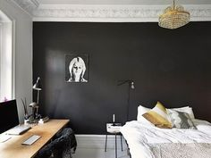 Paint Color Portfolio:  Black BedroomsPAINT COLORS TO GET THIS LOOK: 1. Farrow & Ball Black Blue No. 95 2. Yolo Nourish 06 3. Valspar Tuxedo Tie AR2104 4. Farrow & Ball Railings No. 31 5. Benjamin Moore Deep Indigo 1442 6. Glidden Onyx Black 7. Ralph Lauren Smoked Glass RLUL2225 8. Pittsburgh Paint Black Forest 555-7 9. Behr Beluga 770F-7 10. Mythic Paint Cloud Burst 133-6