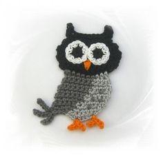 SaVö-Design - Eule grau gehäkelt, Häkelapplikation, crochet owl, Applique: