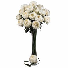 """31in Large Rose Stem (Set of 12)  - Ok, think about """"love"""", and what flower comes to mind? The rose, of course! Bursting with color, these roses are created to represent flowers at a peak bloom; with full, lush heads and petals that command attention (and will last forever) . Complete with hunter green stems and faux thorns, these look so real your guests will be """"stopping to smell the roses"""" every time they come over. Sold as a set of 12. Number of Trunks: NA Number of Flowers: NA Number of"""