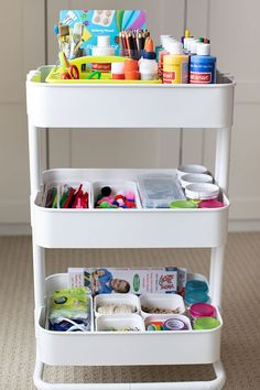 Kids Craft Storage Kids craft storage ideas and the best supplies for kids crafts. Learn how to make your own art cart for storing kids art supplies. Kids Craft Storage, Storage Ideas, Arts And Crafts Storage, Organisation Ideas, Playroom Organization, Playroom Ideas, Toy Storage, Ikea, Rangement Art