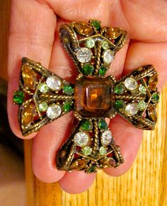 Vintage Designer Signed Maltese Cross Pendant Pin Solid 38 Grams Green Clear Amber Rhinestone & Brass Tone Brooch Quality Women's Jewelry by VintagePolice4U on Etsy