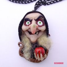 SNOW WHITE WITCH - Halloween necklace CLAY Handmade FIMO