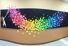 Dot Day Collaborative mural project! Each student painted a unique dot using two analogous colors. They were then arranged into a beautiful impactful mural. Photo Cred: @ artwithmrs.e