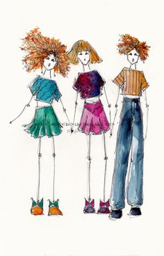 fun friends, colourful illustration digital download 14  MB using pencil, ink and watercolour
