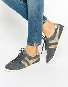 Image 1 of Gola Classic Bullet Trainers In Grey & Gold