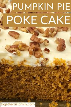 The best pumpkin cake poked with a sweetened condensed milk + pumpkin spice mix! So soft, delicious, and the best pumpkin dessert ever. Top it with chopped pecans for a salty crunch. Best Pumpkin, Pumpkin Spice, Pumpkin Dessert, Spice Mixes, Love Food, Breakfast Recipes, Easy Meals, Spices