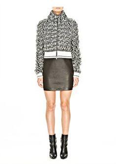 Frayed Tweed Zip Knit Cardigan